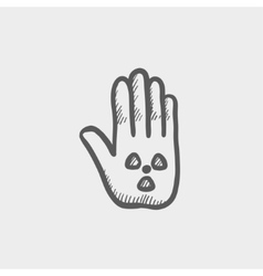 Hand and some object sketch icon vector