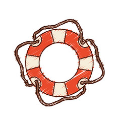 hand colored drawing of flotation hoop with cord vector image vector image