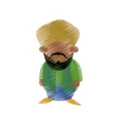 Hand drawing colored indian man bearded vector