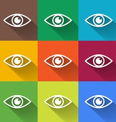 Icon of eye Colorful set Flat style vector image vector image