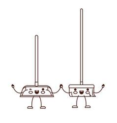 kawaii cartoon broom and dustpan holding hands in vector image
