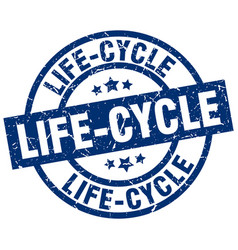 Life-cycle blue round grunge stamp vector