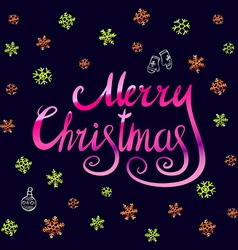 Merry Christmas - pink glittering lettering design vector image vector image