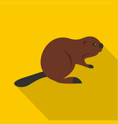North american beaver icon flat style vector