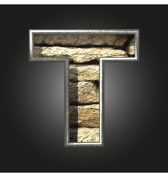 Old stone letter t vector