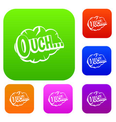 Ouch speech cloud set color collection vector