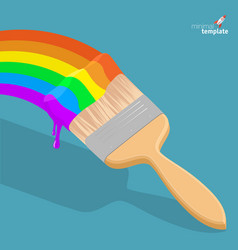 raibow brush with rainbow paint vector image vector image