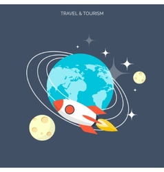 Rocket icon world travel concept background vector