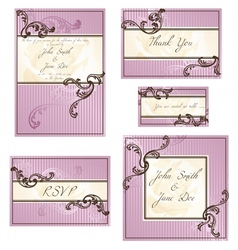 set of rococo wedding designs vector image vector image