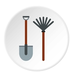 Shovel and broom icon flat style vector