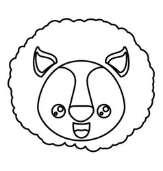 sketch silhouette of kawaii caricature face lion vector image vector image