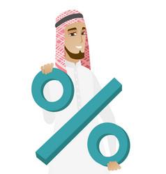 Smiling muslim businessman holding percent sign vector