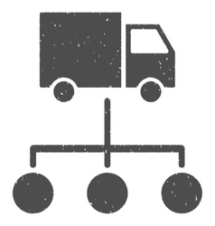 Truck distribution links icon rubber stamp vector