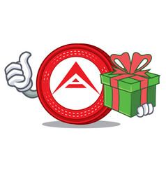 With gift ark coin character cartoon vector