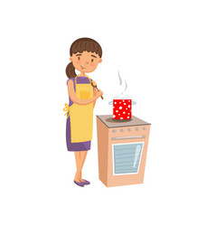young woman in casual clothing and apron cooking vector image vector image