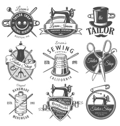 Set of vintage monochrome tailor emblems vector