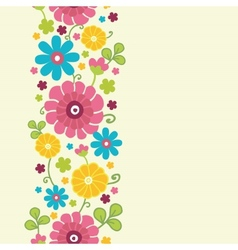 Colorful kimono flowers vertical seamless pattern vector