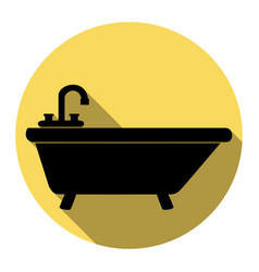 bathtub sign   flat black icon vector image