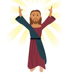 Jesus christ pray religious symbol vector