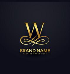 Letter w brand logo design in golden style vector