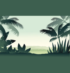 jungle scenery with palm silhouettes vector image