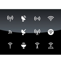 Radio Tower icons on black background vector image