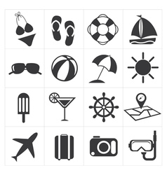 Icons summer set vector