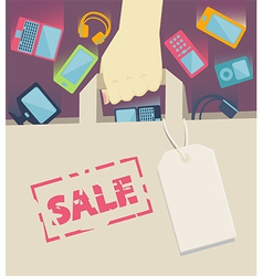 Digital devices falling into a paper shopping bag vector