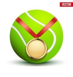Sport gold medal with ribbon for winning tennis vector