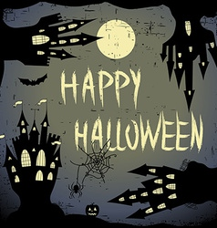 Happy halloween card halloween template with four vector