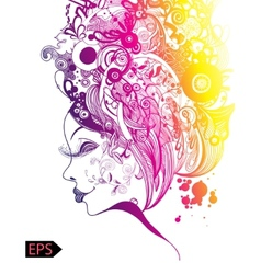 Beautiful fashion women with abstract and floral vector