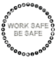 Circular health and safety icon collection vector