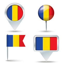 Map pins with flag of romania vector