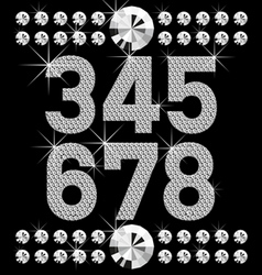 set of diamond letters and numbers big and vector