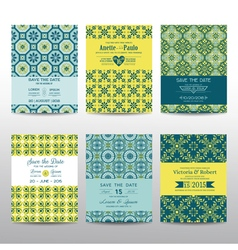 Wedding invitation cards set - vintage style vector