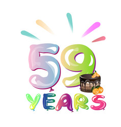 59th years anniversary card with cake vector