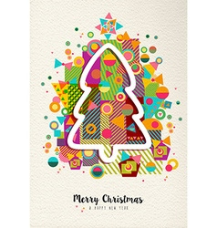 Merry christmas new year colorful fun tree outline vector