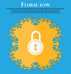 Closed lock icon floral flat design on a blue vector