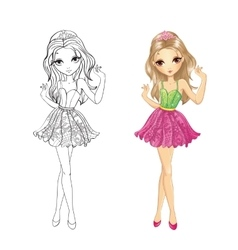 Coloring book of girl with tiara vector
