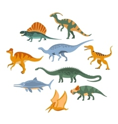 Jurassic period dinosaurs set vector