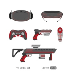 Set of accessories for virtual reality system vector