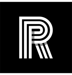Capital letter r made of three white stripes vector