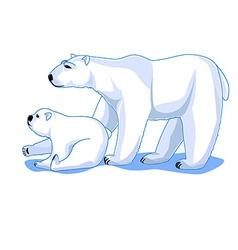 Polar bears mom and cub isolated on white vector
