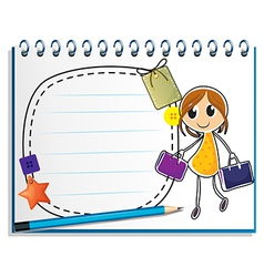 A notebook with a drawing of a girl holding bags vector image vector image