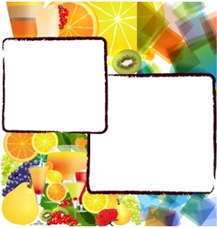 Background with fruits and cocktails vector image vector image