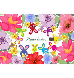 Beautiful happy easter card with bunny and floral vector