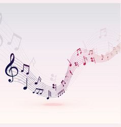 Beautiful musical notes wave background design vector