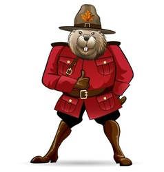 Beaver in canadian ranger suit vector