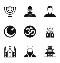Beliefs icons set simple style vector