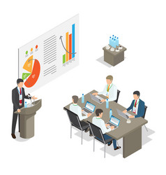 Business meeting conference top managers in office vector